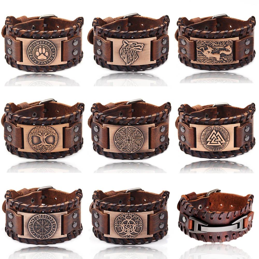 Wristband Viking Bangle Jewelry Charm Leather Bracelet Braided Men Punk Male Rope Alloy-Cuff title=