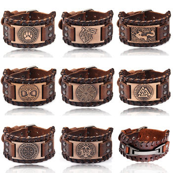 Charme Brede Lederen Armband Mannen Punk Gevlochten Touw Lichtmetalen Manchet Bangle Mannelijke Polsband Viking Armband Heren Sieraden