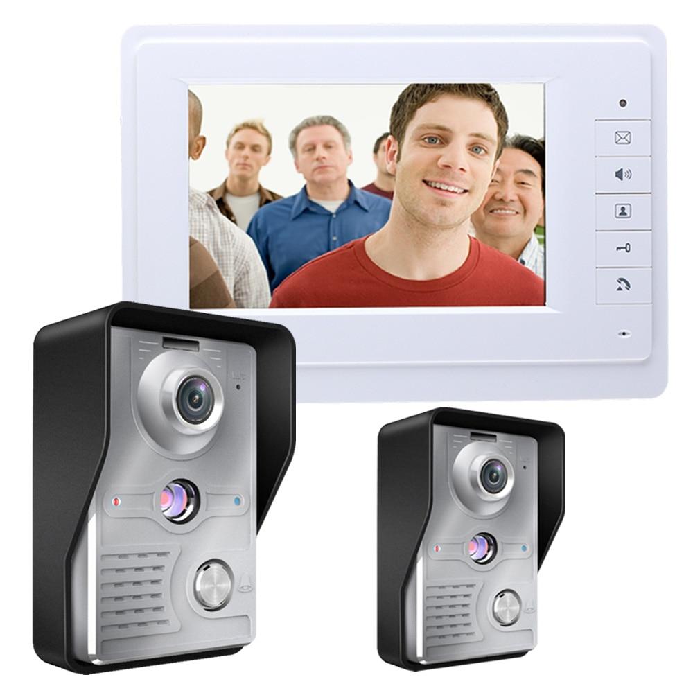 YobangSecurity Video Intercom Monitor 7''  Video Door Phone System Visual Intercom Doorbell 1 Indoor Monitor 2 Outdoor Camera