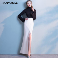 BANVASAC 2018 High Neck Contrast Color Split Mermaid Long Evening Dresses Party Sleeve Zipper Back Prom Gowns
