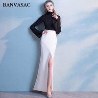 03a195d2d ... vestidos de noche largos partido manga larga cremallera volver baile. BANVASAC  2018 High Neck Contrast Color Split Mermaid Long Evening Dresses Party ...