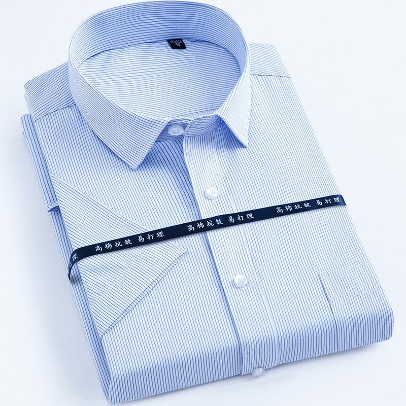 New Arrived 2018 work men shirts Brand short sleeve striped / twill shirt men dress shirt white male 4xl Men's Shirt casual Slim