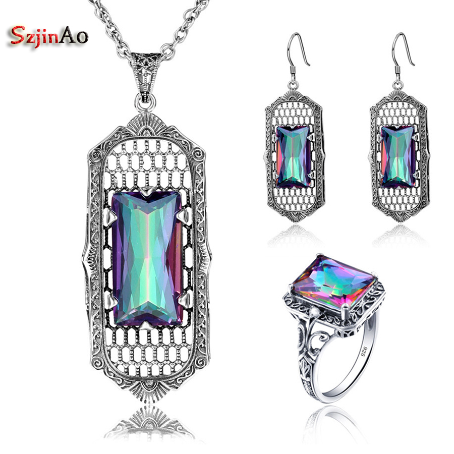 Szjinao Fire Mystic Square Rainbow Topaz Color Stones Fashion Vintage 925 Sterling Silver African Party smycken set för kvinnor