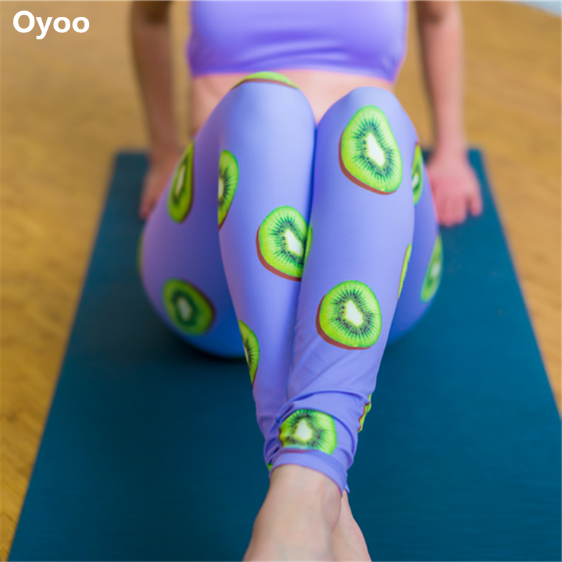 Oyoo Lightweight Kiwi Yoga Pants High Waist Sport Workout Power Flex Gym Leggings Female Printed Purple Dance Jogging Pants