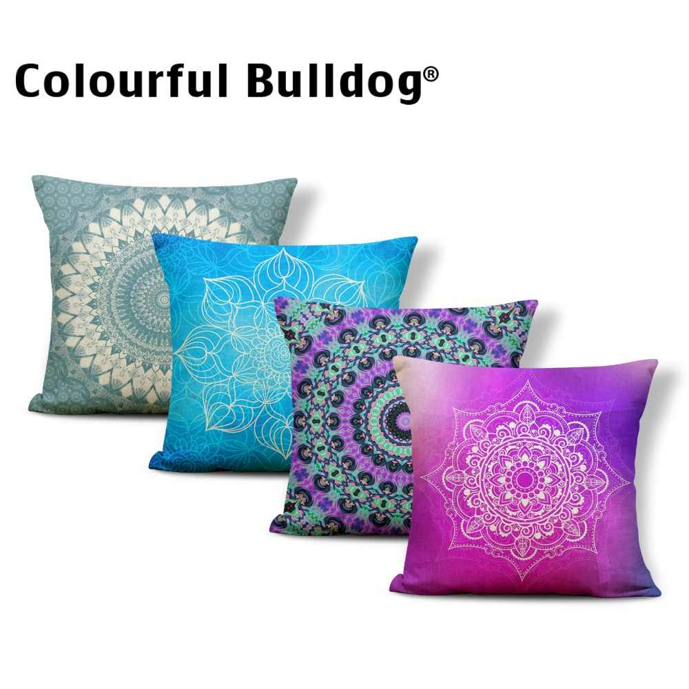 Geometry Cushions Paisley Mandala Style Chakra Astrology Pillowcases Lotus Pillowslip Covers Square Linen Blend Your Picture