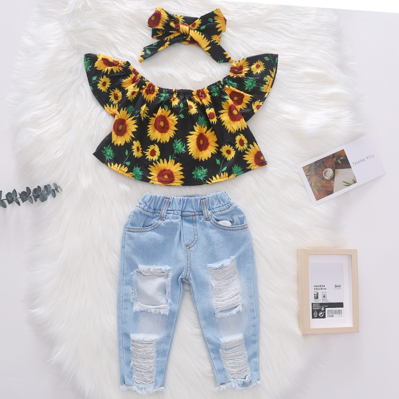 Outfits Shirt Headband Sunflowers Baby-Girls Off-Shoulder Denim Summer Pants Tops Hole