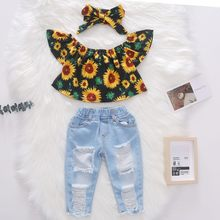 3PCS Summer New Toddler Kids Baby Girls Clothes Off Shoulder Sunflowers Shirt Tops + Hole Denim Pants + Headband Outfits 1-5Y(China)
