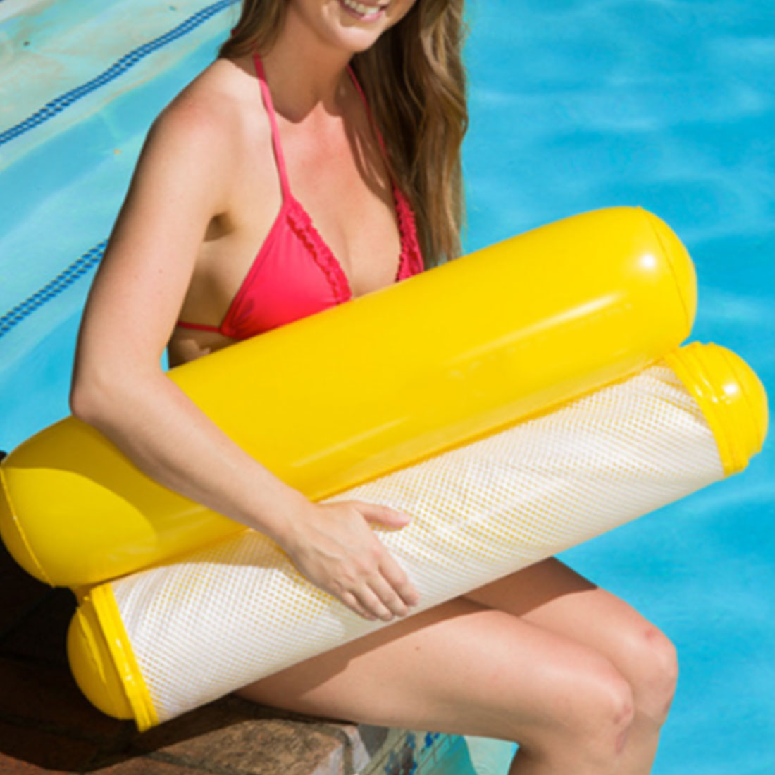 Hot PVC Water Hammock Float Inflatable Floating Lounger Bed Beach Swimming Pool Float Lounge Float Bed Chair For Kids Adults
