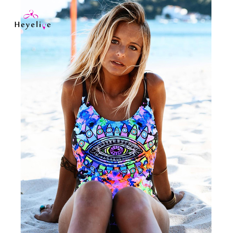 Sexy Print One Piece Swimwear Women New Swimsuits Beach Bathing Suits Holiday Swim Wear Padded Push Up High Cut Monokini Trikini