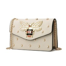 Women Desinger Rhinestones Bee PU Leather Shoulder Bag Crossbody Bag with Chain For Girls Ladies