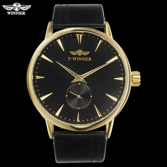 Mannen Mechanische Horloges Winnaar Top Luxury Brand Hand Wind Horloges Rvs Lederen Band Forsining Man Waterdichte Klok