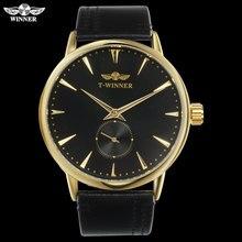 男性機械式時計の勝者ラグジュアリーブランドハンド風腕時計ステンレス鋼革バンド forsining 男防水時計