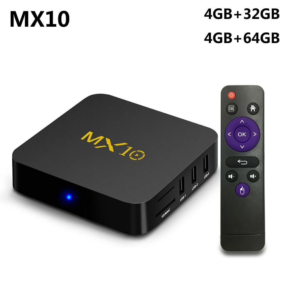 MX10 4GB RAM 64GB ROM Best Android 8 1 TV BOX 2018 RK3328 Quad Core 4K