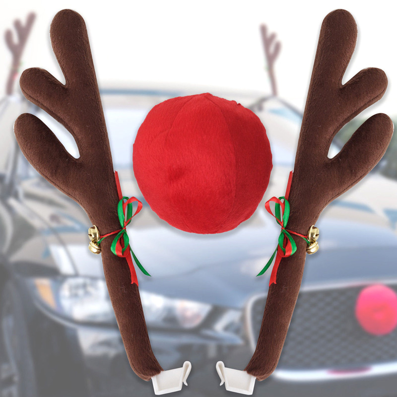 Hot Reindeer Antlers Jingle Bells Costume Rudolph Car Christmas Ornament Decor With Nose BX