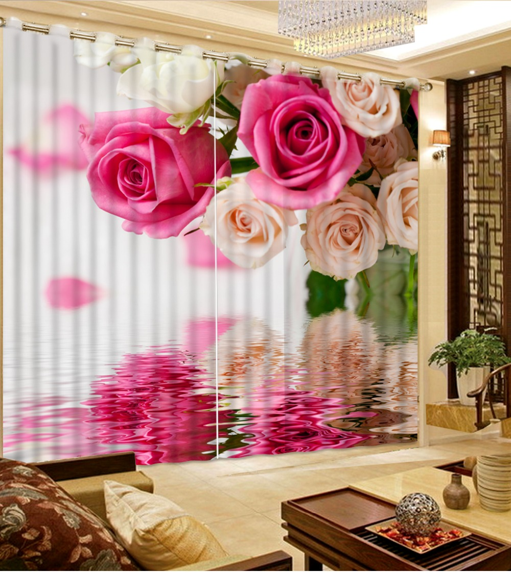 custom blackout curtains for living room flowers water surface 3d curtains window curtains 3d home