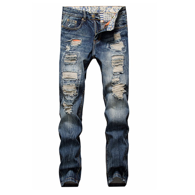 Hot 2016 New designer famous brand upscale cotton men jeans ripped pants European and American style