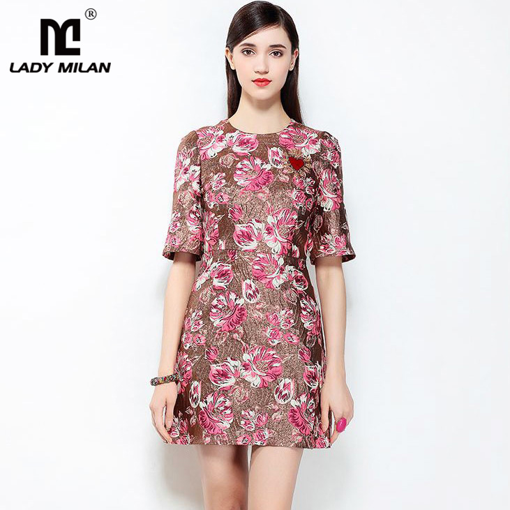 New Arrival 2018 Womens O Neck Short Sleeves Jacquard Printed Beaded A Line Fashion Casual Dresses