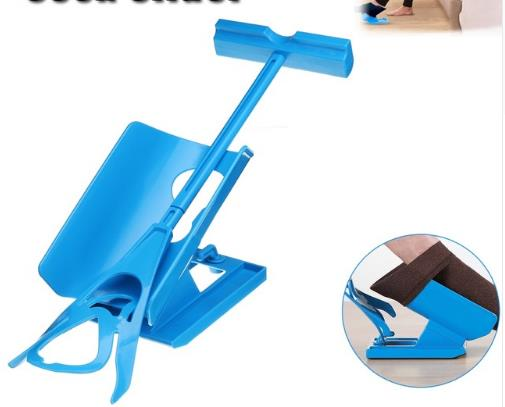 Mayitr 1pc Sock Slider Aid Blue Helper Kit Helps Put Socks On Off No Bending Shoe Horn Suitable For Socks