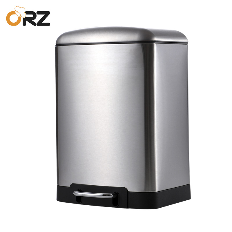 6L Garbage Trash Can Stainless Steel Square Waste Bin Step Foot Pedal Outdoor Garbage Bin Kitchen