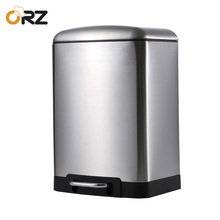 6L Garbage Trash Can Stainless Steel Square Waste Bin Step Foot Pedal Outdoor Kitchen Bathroom Office Rubbish