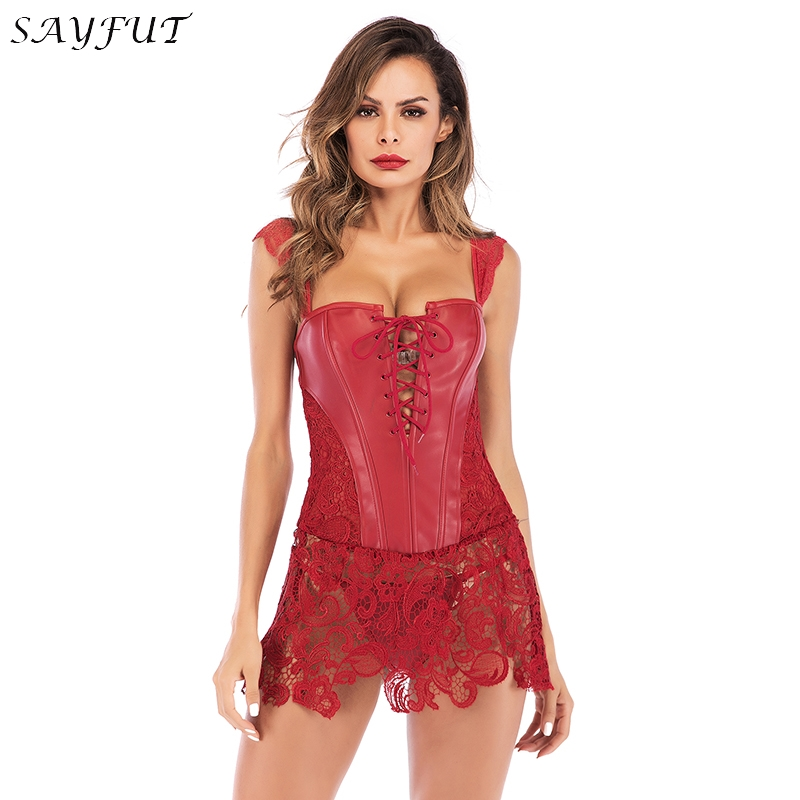 Lady Faux Leather Lace Up Front Zipper Back   Corset     Bustier   Christmas Fancy Dress Floral Embroidery Gothic   Corset   with Lace Skirt