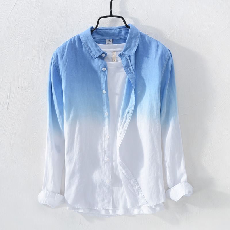 2018 Fresh Gradient Linen Shirts Men Long Sleeve Casual Summer Breathable Loose Sand, Cotton And Linen Shirt
