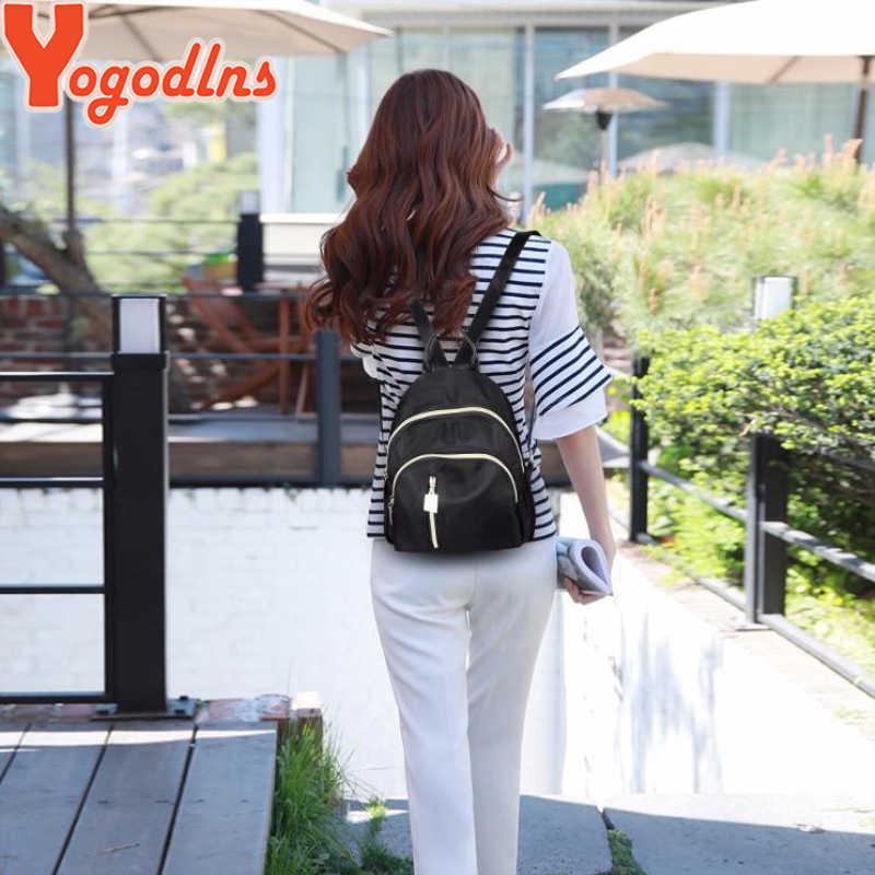 Yogodlns 2020 dorywczo Mini plecak kobiety czarny szkoła Oxford torba dla nastolatki dziewczyna Nylon podróży plecak kobiet