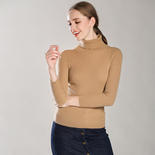 Women's 100% Cashmere Turtleneck Allover Ribbed Pullover Slim Solid Trend Colors Multi Base Model Sweater For Women Jumper 2018 turtleneck ribbed jumper sweater