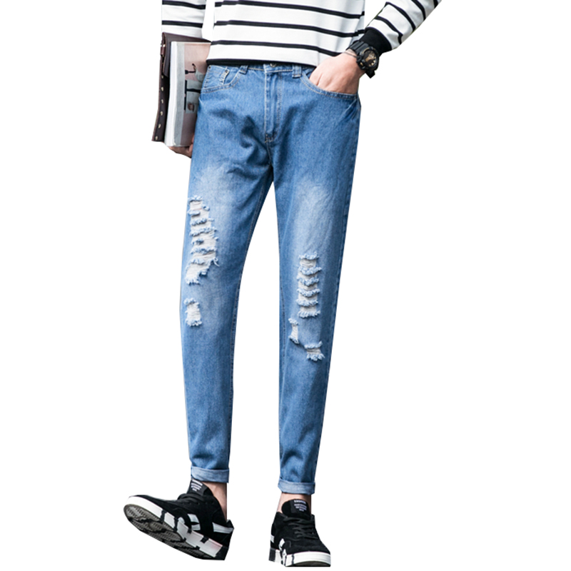 New fashion Thin Men's spring and summer style jeans brand denim jeans high quality leisure casual Jeans N-ZK018 kcae 2017 brand spring and summer new