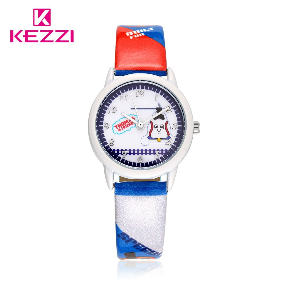 Kezzi Brand Kids Watch Cute Cartoon Train Printing Quartz Analog Leather Strap Wrist Watch Child Boy Girl Clock relogio k1443