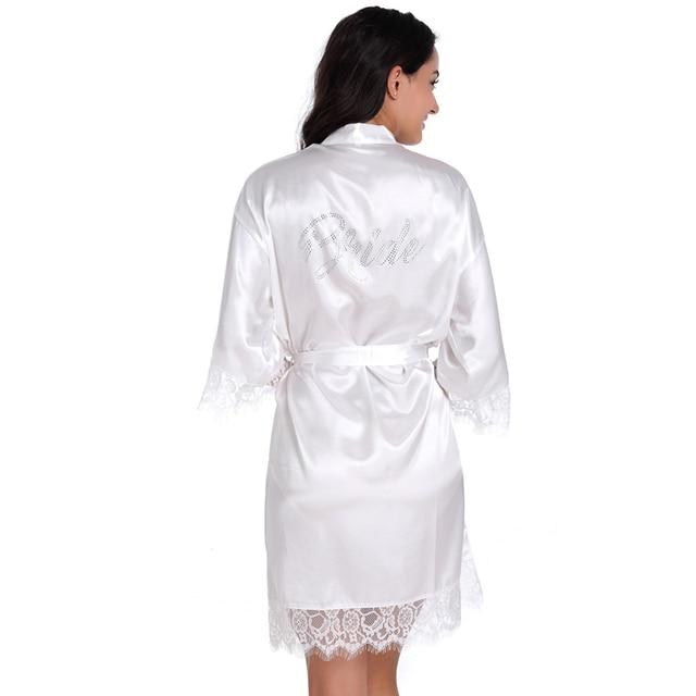 459d60b6aa80d9 Selo de pedra 'Bride' Sexy Cetim de Seda Rendas Vestes Noiva Meia manga  Roupão Kimono Robe Noite Robe de Verão Sólida Para mulheres em Vestes de ...