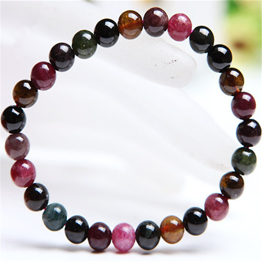 6.5mm Genuine Natural Tourmaline Quartz Crystal Stretch Bracelets For Women Femme Charm Round Bead Bracelet 8 5mm natural zoisite gem stone crystal round bead bracelets for women femme charm stretch bracelet