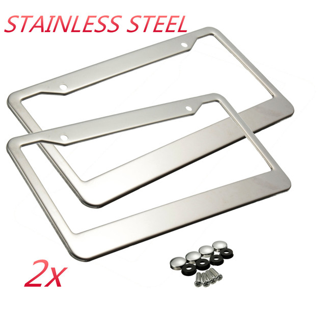 2pcs Sliver Metal Stainless Steel License Plate Frames Bolts Holder W Caps Tag Cover
