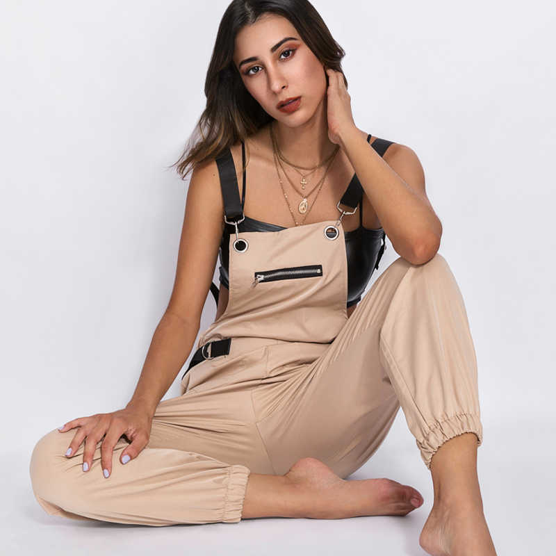 Waatfaak Summer Long Romper Womens Jumpsuit Elegant Zipper Pockets Sleevlesee Adjusted Straps High Waist Cotton Fashion Overalls