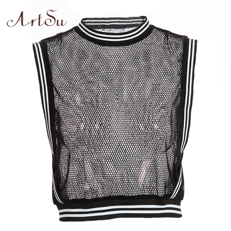 ArtSu Summer Black Mesh   Top   Sexy Camisole Crop   top   Female Sleeveless   Tank     Tops   Tees Basic Workout Vest   Top   Camis ASVE20352