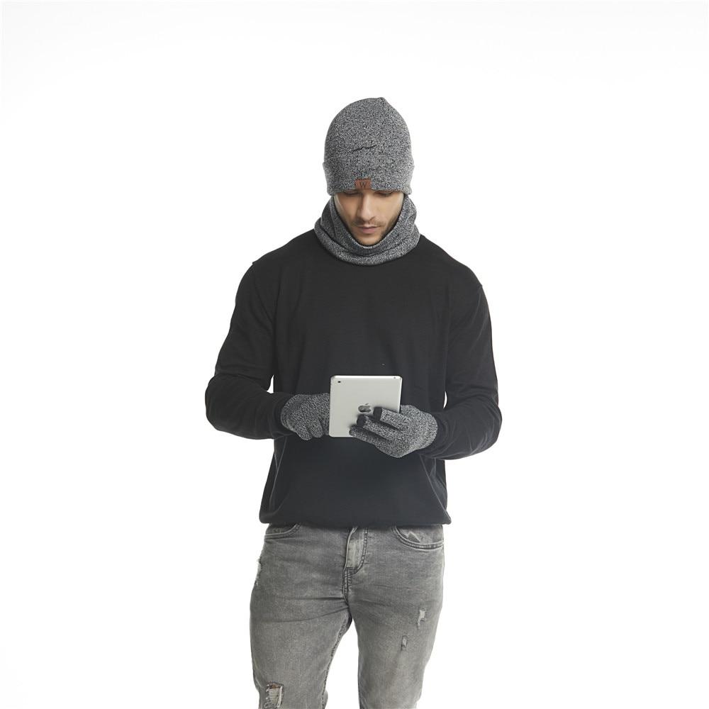 Jinjin.QC 2019 New Men Winter Set Scarf Hat & Glove Sets Wrap and Gloves Warm Accessory Ensemble Chapeau Echarpe Moufles Hivers