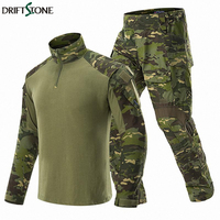 Camouflage BDU Army Combat Suit Men Tactical Military Uniform Clothing Sets Waterproof Cargo Pants Long Sleeve T shirts