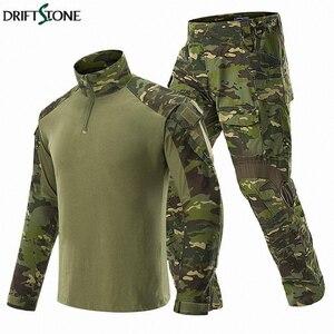 Kamuflaż BDU Army Combat Suit mężczyźni wojskowy mundur taktyczny zestawy odzieżowe wodoodporne spodnie Cargo koszulki z długim rękawem