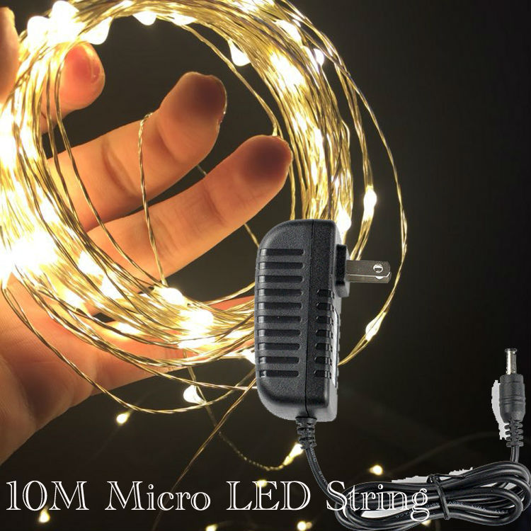Factory Direct Deal ! 20units/Lot 10M 100LEDs Micro LED Fairy Light String Copper Wire String Light With AC Adapter