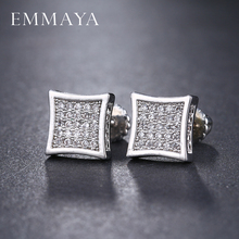 EMMAYA Square Stud Earrings Women Cubic Zirconia Crystal Jewelry White Black CZ Stud Earrings For Female Trendy(China)