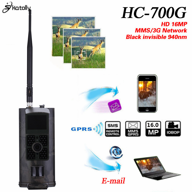 Skatolly HC700G 940nm Infrared Trail Hunting Camera 16MP 3G GPRS MMS SMTP SMS 1080P Night Vision Wildlife Scouting hunter Cam simcom 5360 module 3g modem bulk sms sending and receiving simcom 3g module support imei change