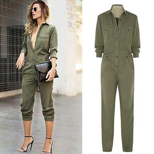 Women Fashion Long Sleeve Lapel Casual Long Jumpsuit Pants Playsuit Bodysuit