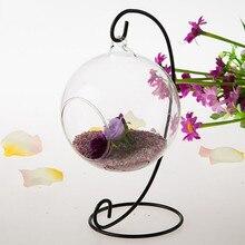 Романтичный металлический Железный подсвечник для фонарей, стеклянный шар, подсвечник для салона, микро Ландшафтная Подвесная подставка для свадьбы и дома