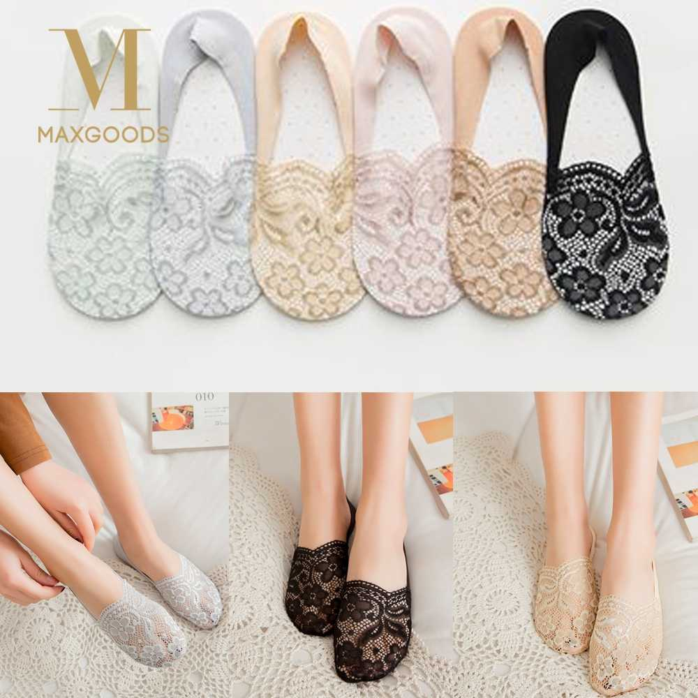 Fashion Women Spring Summer Cotton Lace Flower Antiskid Invisible Skidproof Liner Low Cut Ankle Socks Fashion Hosiery Sox