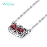 I&zuan 925 Sterling Silver Pendant Natural Garnet Trendiest Imperial Crown Pendants With necklace Fine Jewelry For Women