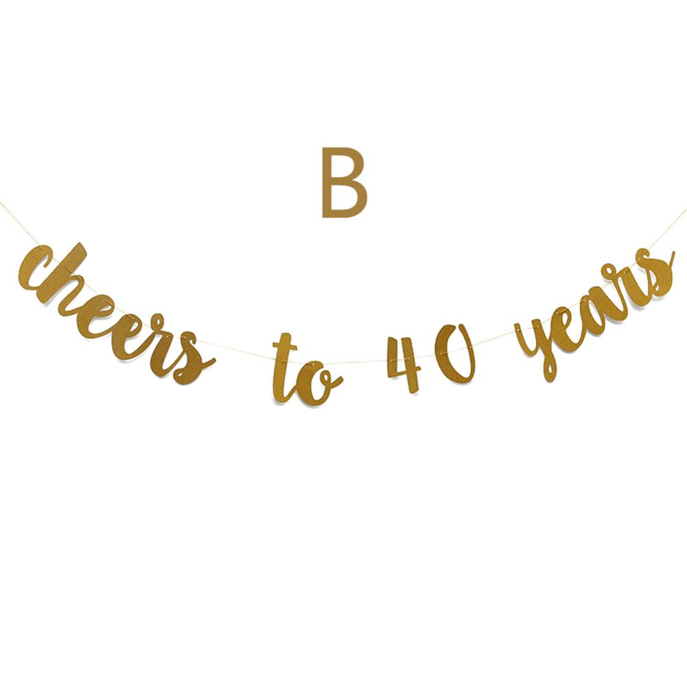 Image 4 - Golden Glitter Cheers To 30 40 50 60 70 Years English Letter String Flag Birthday Party Banner Wedding Party Supplies Ornament-in Banners, Streamers & Confetti from Home & Garden