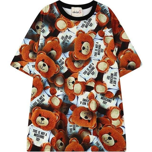 Женщины плюс размер футболки 2016 новый негабаритных милый медведь печати tee топы для женщин дамы летом случайные дизайн футболки мода Майка