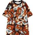 Las mujeres más el tamaño de la camiseta 2016 nuevo de gran tamaño lindo oso de impresión camiseta tops para mujer de las señoras del verano diseño casual camiseta Camiseta de la manera