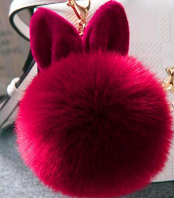 OKAYDA Fofo Chaveiro Coelho Pompom adorável Coelho Da Pele Do Falso tampa de assento Do Carro Ouvido Novos Brinquedos dos miúdos Bolsa Encantos Chaveiro