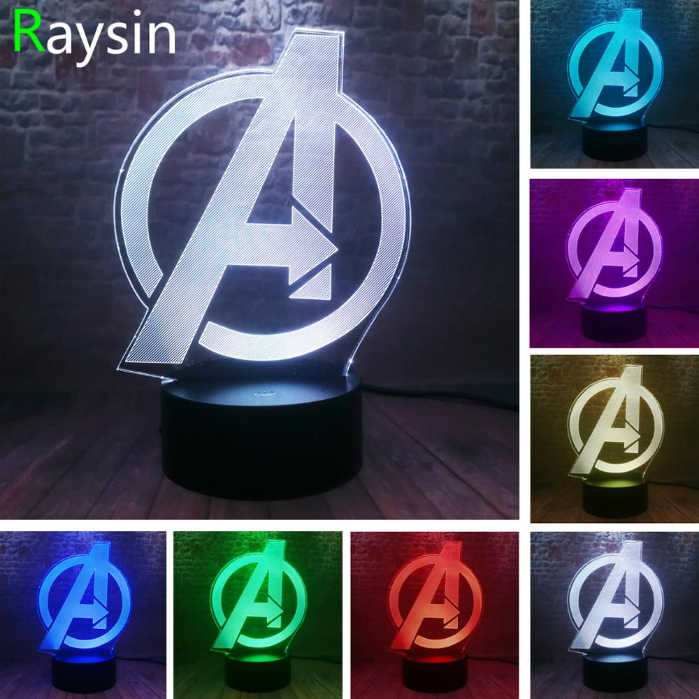 Creative The Avengers 4 Sign Model LOGO Super Hero Marvel Legends 3D RGB LED Night Light Kids Toys Xmas Gift Table Bedroom Decor